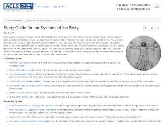 Screenshot of ACLS Educational Body Systems page