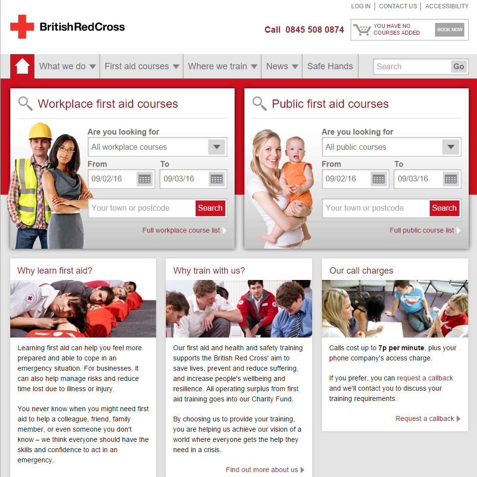Screenshot of Red Cross Training Page