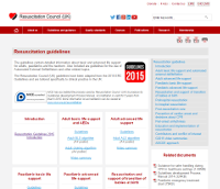 screenshot of resus guidelines site